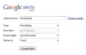 screenshot of the google alerts configuration tool
