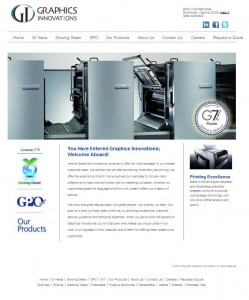 screenshot of Graphics Innovations.com. Top of page shows a grey Heidelburg speedmaster press