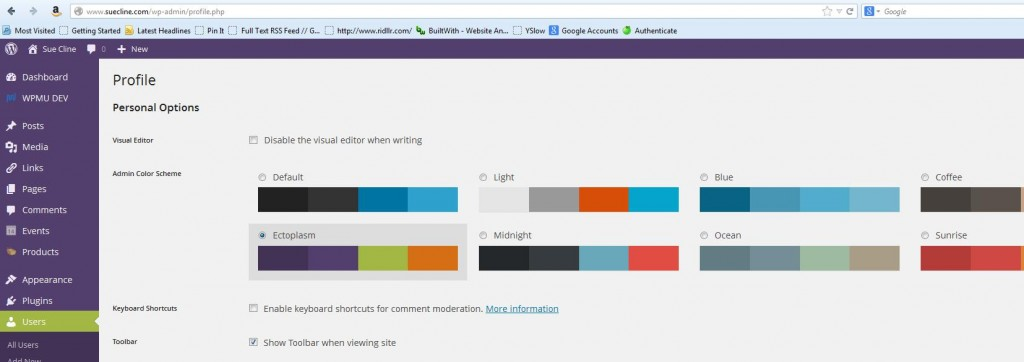 When you select a color choice, you'll see it immediately reflect in your sidebar.