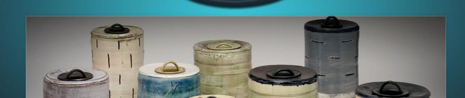 screenshot of Steven Glass Ceramics .com featuring a series of his sanctuary jars.